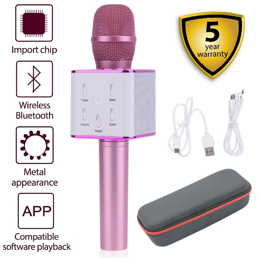 Wireless Karaoke Microphone, Q7 Portable 3-in-1 Handheld Microphone Bluetooth Speaker for Apple iPhone Android Smartphone PC Music Playing Singing Home KTV (Pink) HAISHULIN Q9