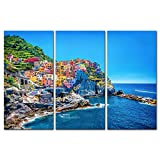 My Easy Art® 3 Pieces Modern Canvas Painting Wall Art The Picture For Home Decoration Cityscape Traditional Port Mediterranean Sea Cinque Terre Italy Coast Landscape Print On Canvas Giclee Artwork For Wall Decor