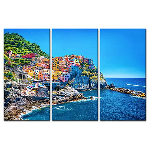 3 Pieces Modern Canvas Painting Wall Art The Picture For Home Decoration Cityscape Traditional Port Mediterranean Sea Cinque Terre Italy Coast Landscape Print On Canvas Giclee Artwork For Wall Decor