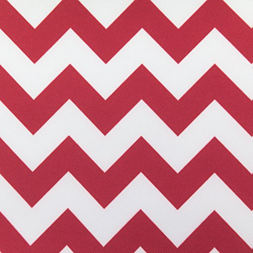 Waterproof Outdoor Chevron Canvas Red / White 60 inch Fabric By the Yard (F.E.)