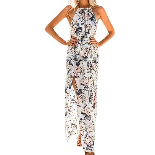 21fb6ebff56fe7 Strandkleid Damen, Sunday Lange Sommerkleid Womens Sommer Print Boho Lange  Maxi Abend Party Strand Chiffon Blumenkleid (S, Weiß): Amazon.de: Bekleidung