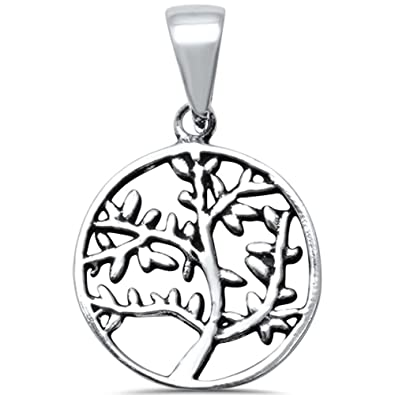 44f934a9f Image Unavailable. Image not available for. Color: Sterling Silver Plain  Tree of Life Family Tree Charm Pendant