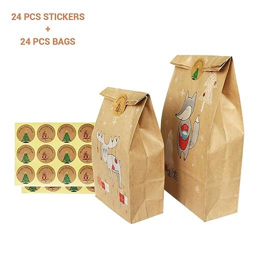 Neborn - 24 bolsas de regalo de Navidad con diseño de copo ...
