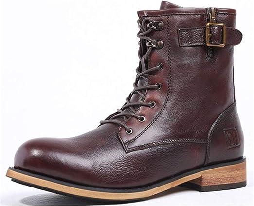 Botines Hombre, Zapatos de Vestir de Hombre Negro Marrón Cuero de ...
