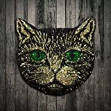 #8: lot Sequin Metal Wire Green Eye Cat Stickers Embroidered Sew On Patch For Jeans Clothes Coat Applique DIY Accessory