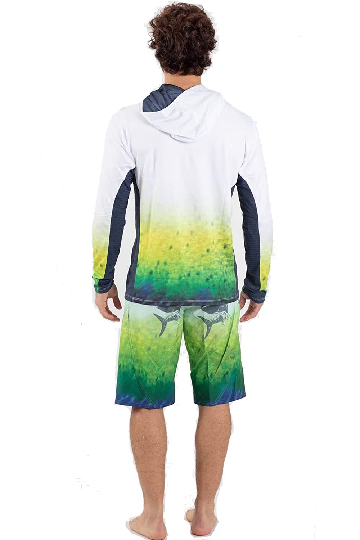 Wave Life Mens Mahi Mahi XX-Large White L//S UPF50 Performance Fishing Hoodie