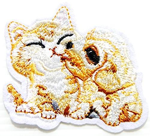 Cat Dog Puppy Kitten Best Friend Patch Iron on Sew Embroidered Applique Handmade Craft Art DIY Decorative Handmade Women Kid Girl Clothing Jacket Vest T shirt Bag Accessories Collection Costume Gift