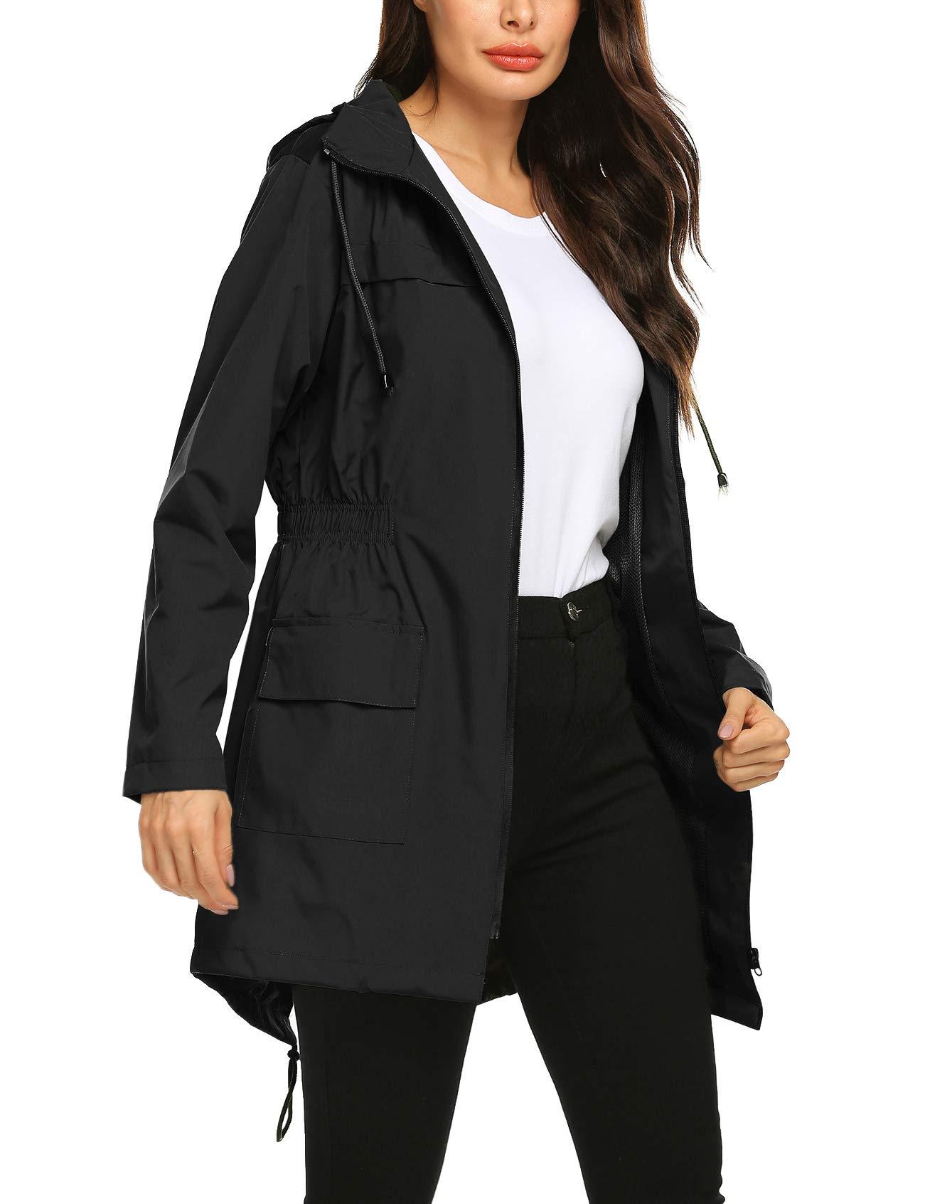 Avoogue Active Outdoor Hooded Lightweight Windbreaker Long Jacket Womens Raincoat Lining Plus Size Black M by Avoogue