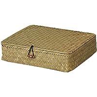 YARNOW Seagrass Storage Basket with Lid Rectangular Woven Shelf Basket Decorative Home Storage Bin Multipurpose…