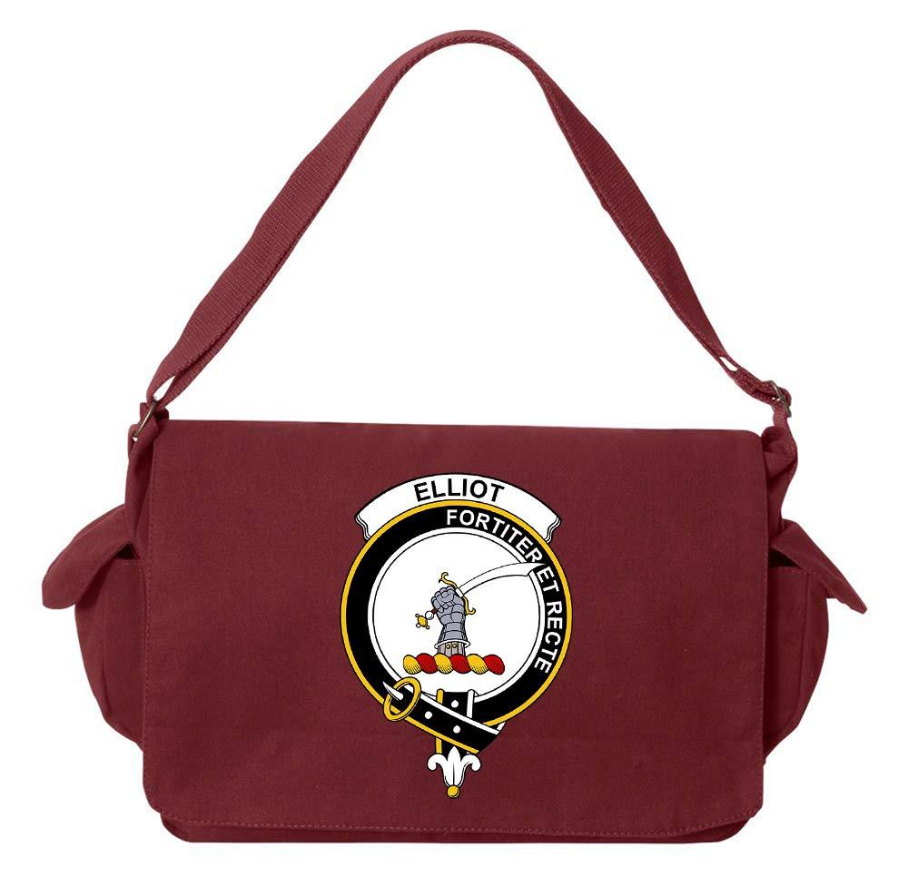 Tenacitee Scottish Clan Crest Badge Elliot Khaki Green Raw Edge Canvas Messenger Bag