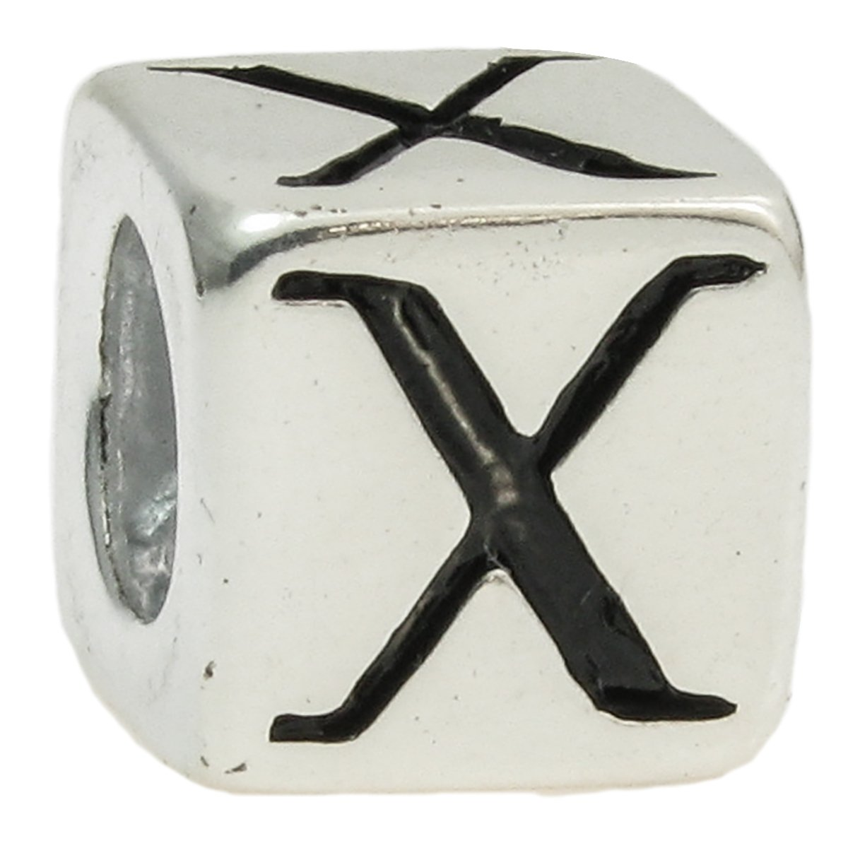 Sterling Silver Cube Letter X European Style Bead Charm by Queenberry