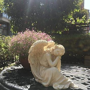 Figura Decorativa para jardín Happy Angel Figurine Resina A Prueba De Agua Garden Statue Para Yard Lawn Decoration Gift - 25 * 21 * 23cm A: Amazon.es: Bricolaje y herramientas