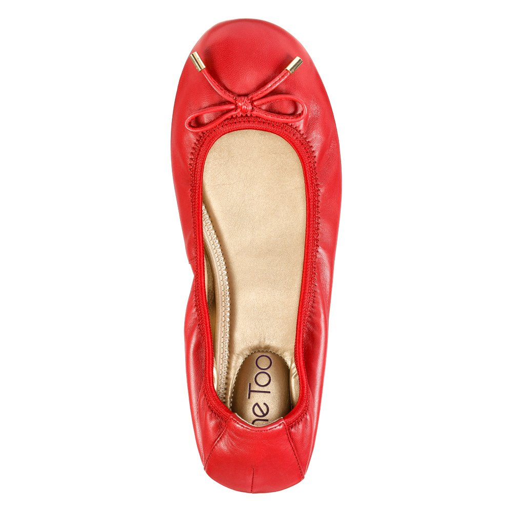 Me Too Women's Lilly Ballet Flat B0162EYQ20 6 B(M) US|Red Kid Leather
