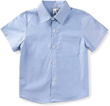 Aeslech Camisa Oxford de manga corta con botones para niños ...