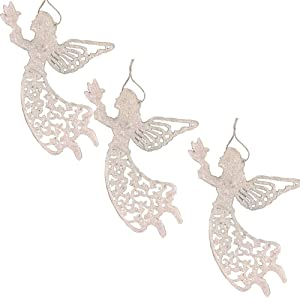 """BANBERRY DESIGNS Large Angel Ornaments - Set of 3 White Glitter Angels Holding a Dove - Memorial Angels - Approx. 12"""" H- Christmas Tree Ornaments"""