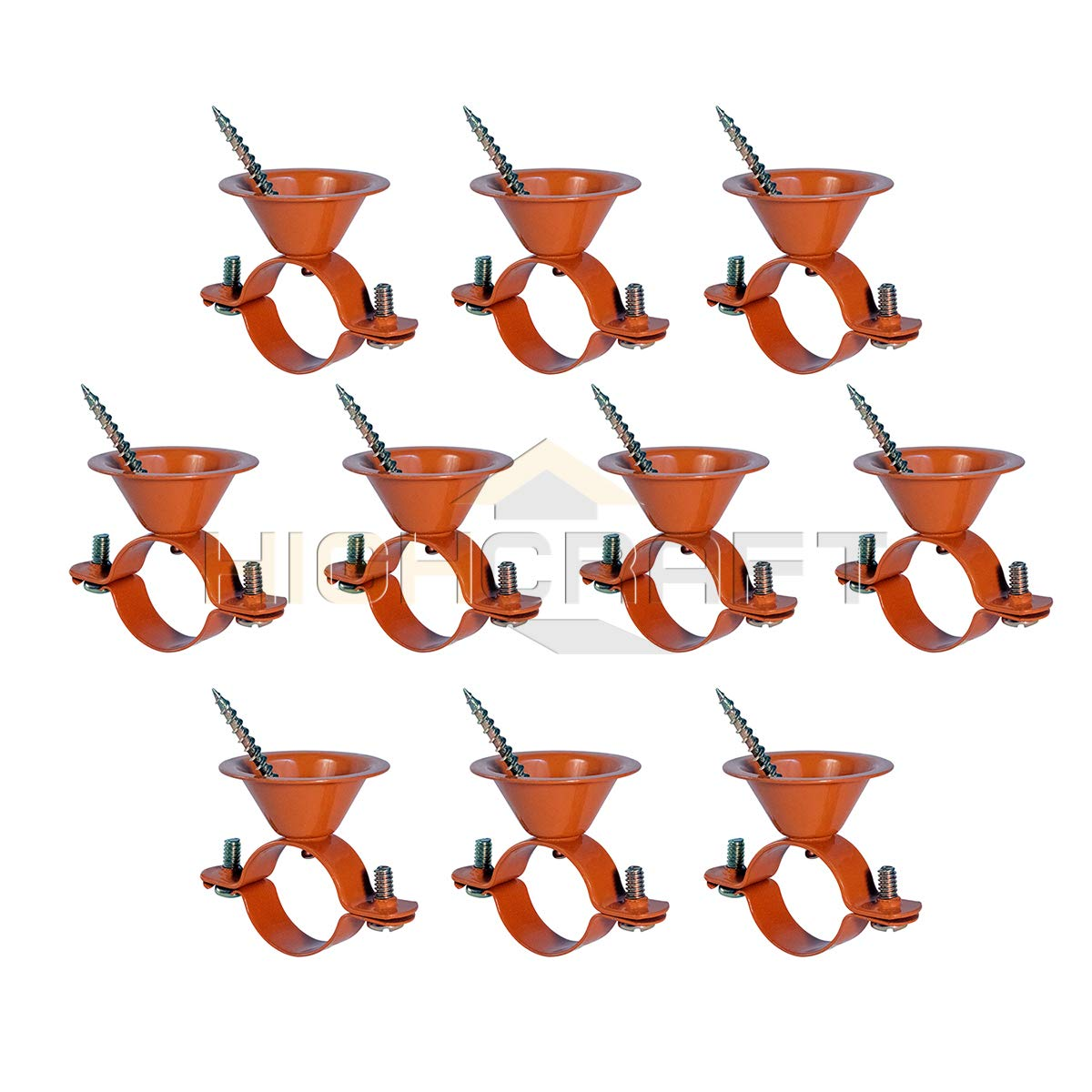 Highcraft HBE-CP34-10 Bell Hanger Copper Coated Steel, 3/4 in. 10 Pack by Highcraft