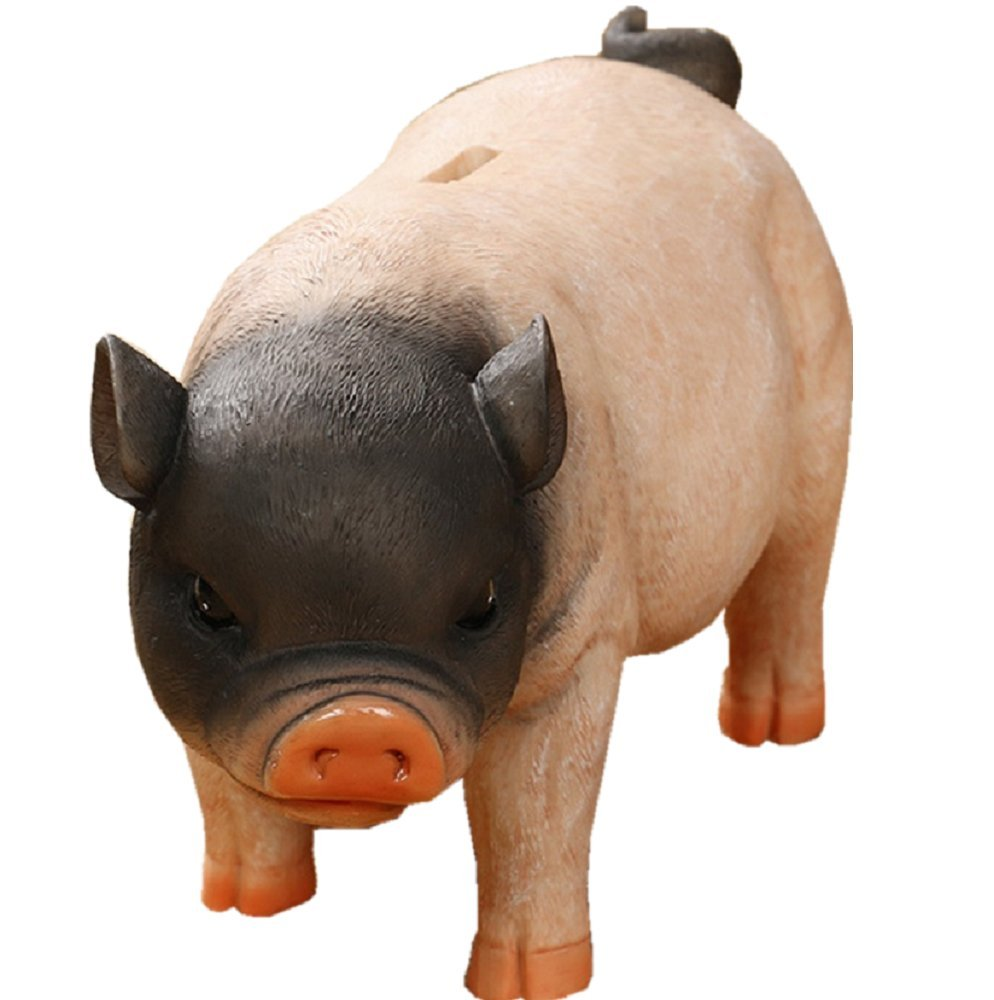 Amaonm Creative Simulation Resin Pig Coin Money Piggy Bank Bitrthday Gift Toy for Kids Children 10x6x4.3 (B) Pig Piggy Bank B