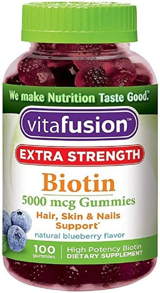 Vitafusion Extra Strength Biotin Gummies 5000 mcg, Blueberry 100 ea Pack of 4