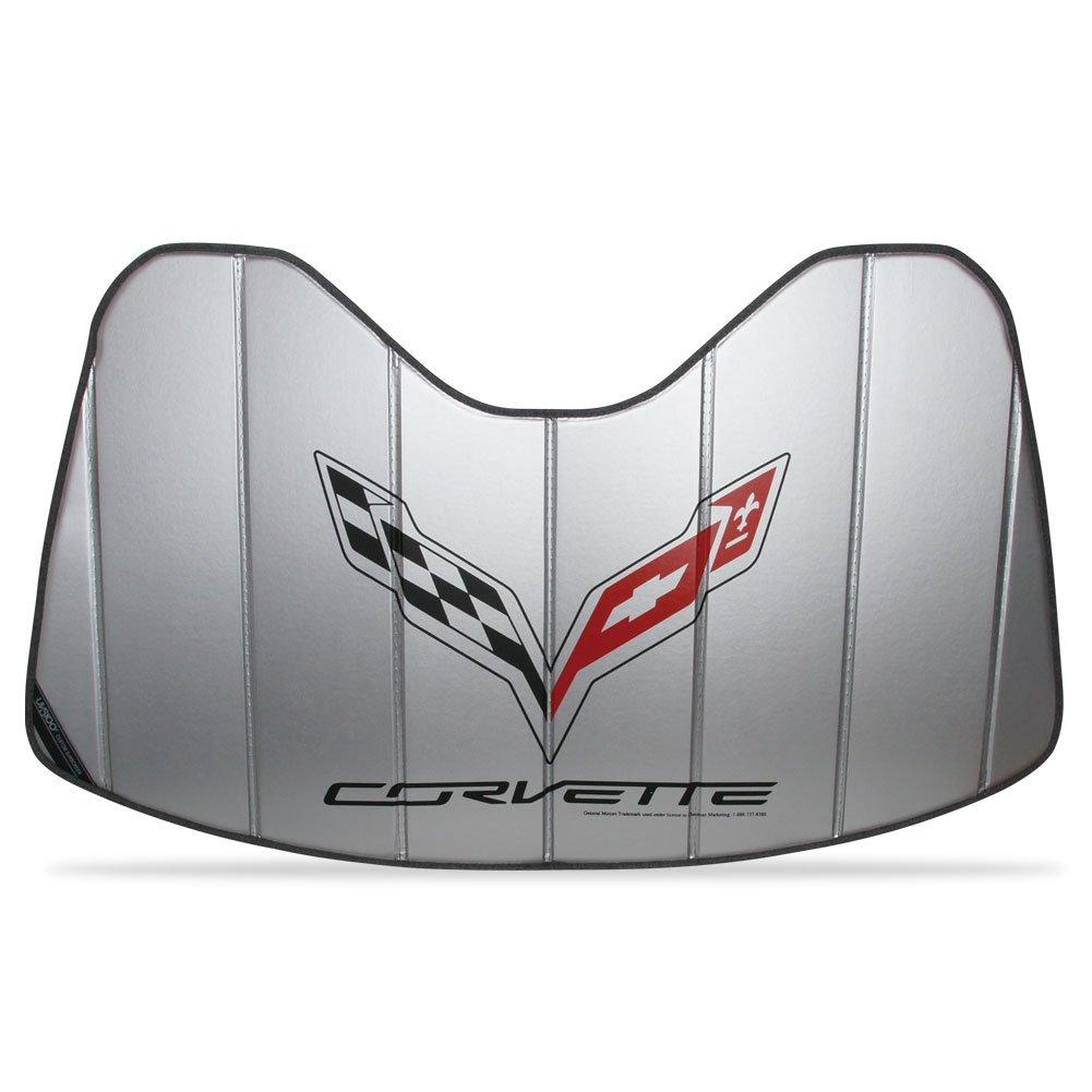 West Coast Corvette Logo Accordion Style Sunshade - Insulated Silver : C7 Stingray, Z51, Z06, Grand Sport