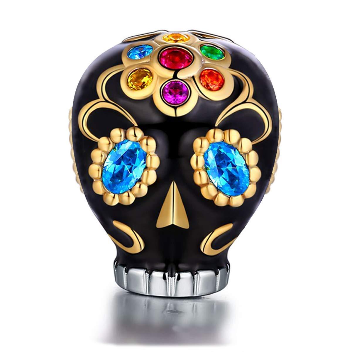 FOREVER QUEEN Skull Charms fit Pandora Charms Bracelets, 925 Sterling Silver Sunflower Dia De Los Muertos Bead Multicolor CZ Charm for European Bracelets& Necklace, Best for Women Girls FQ0036