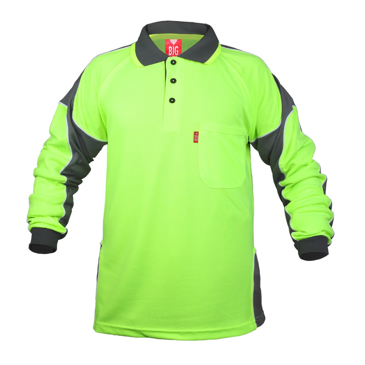 2Pack Hi Vis Polo Shirt Arm Panel With Piing Fluoro Work wear Cool Dry Long Sleeve by BIG BEE (Image #2)