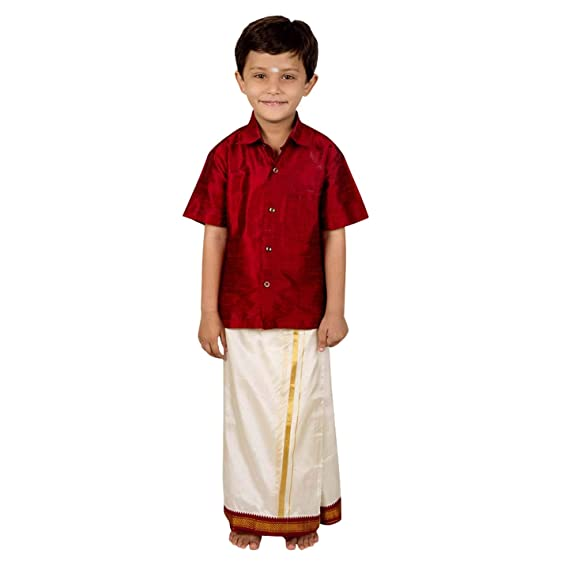 4ade507b5 KIDDY STAR Silk Cotton Shirt and Dhoti set for Kids Boys hip closure ...