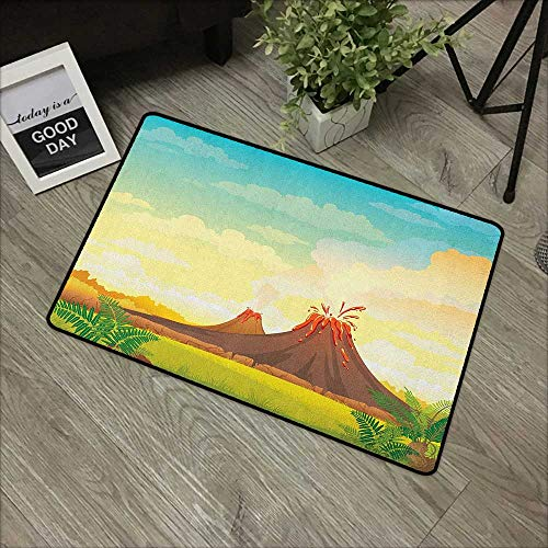 Square Door mat W31 x L47 INCH Volcano,Prehistoric Mountain Magma View Lava with Clouds Ferns Tectonic Pastoral Landscape, Multicolor Non-Slip Door Mat ()
