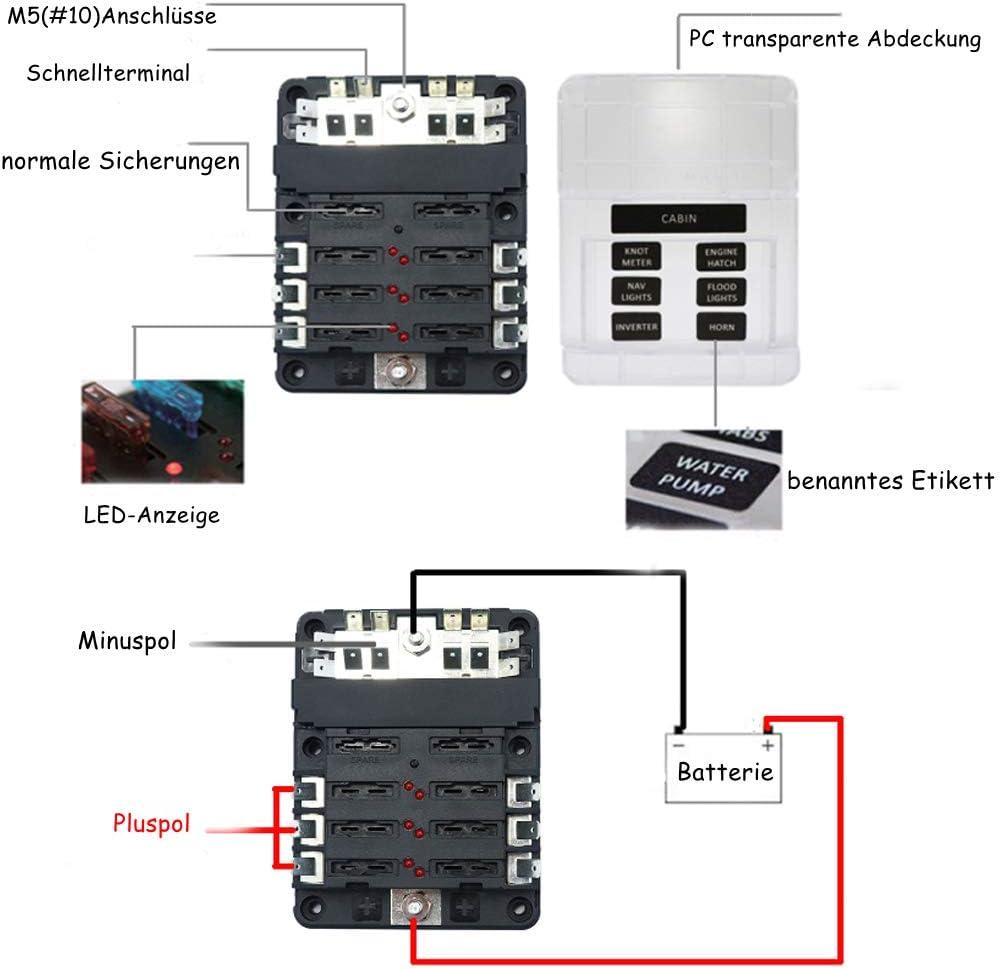 6 Fach Sicherungshalter mit Minuspol KFZ Auto Sicherungskasten Boot Solaranlage Wohnmobil Akzeptieren normale Sicherungen ATP//ATC//ATO