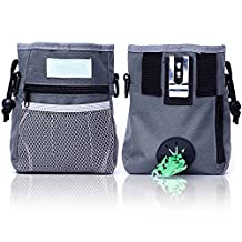 Preself Dog Treat Pouch for Training, Carries Treats and Toys, Built-In Poop Bag Dispenser, Adjustable Waist and Shoulder Belt