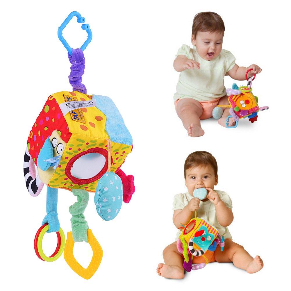 Zerodis Cubo de tela Bloque embrague traqueteos juguete para cochecito de beb/é Juguetes para la cuna primeros juguetes educativos del beb/é reci/én nacido 0-12 Meses