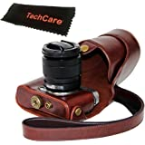 "TechCare ""Ever Ready"" Protective Leather Camera Case Bag for Fujifilm X-A3, Fujifilm X-A2 Digital Cameras with XC16-50 mm Lens (Dark Brown), Fujifilm X-A3 case, Fujifilm X-A2 case"