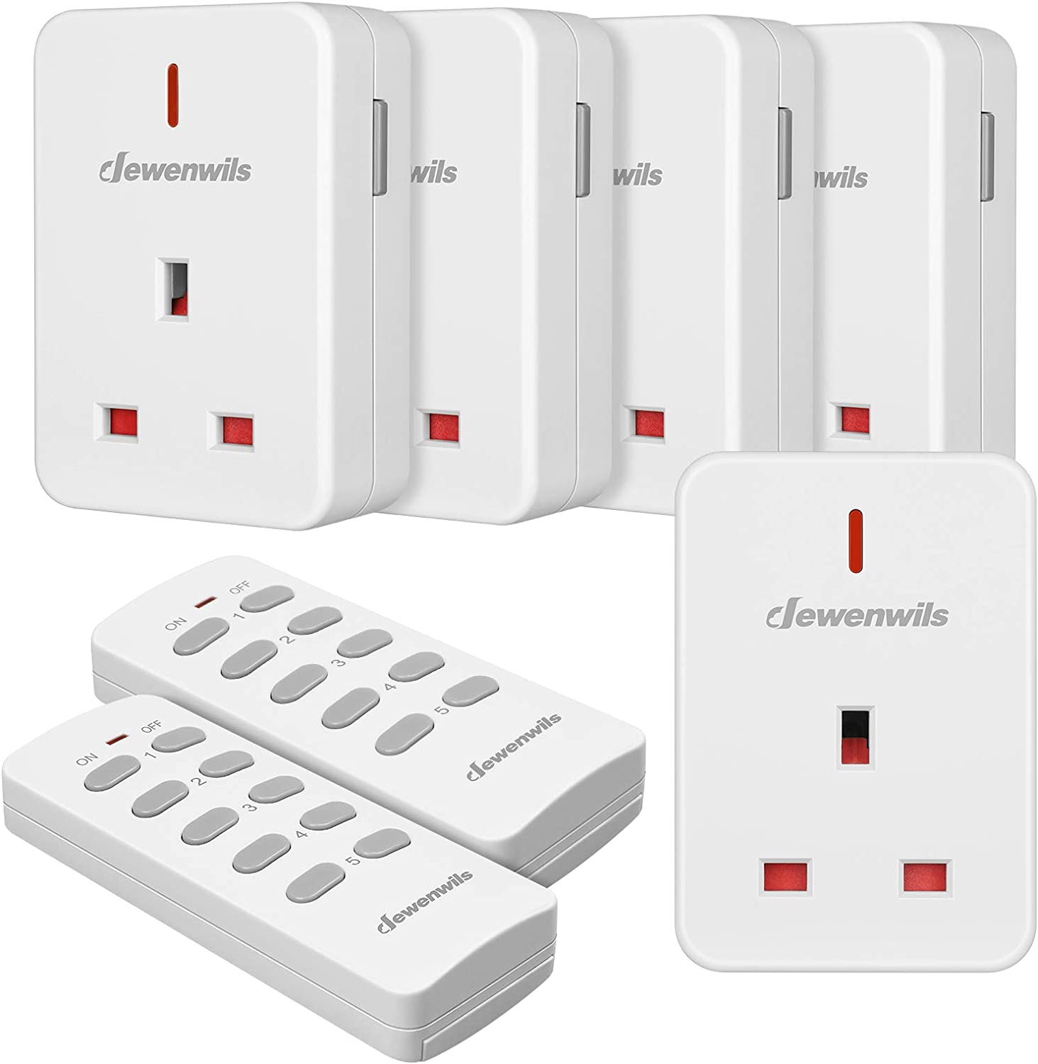 Dewenwils Remote Control Plug Socket 13a 3120w Heavy Duty Wireless Light Switch 30m 100ft Long Range Programmable Ce And Rohs Listed 5 Pack Sockets And 2 Remotes Amazon Co Uk Diy Tools