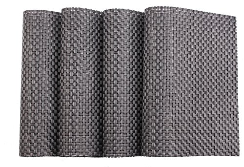Spaco Cross Bamboo Style Table Placemats Table Decor Mats for Kitchen Dining Room,Set of 4 (Silver, Black B1)