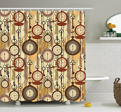 Beige Decor Collection Retro Style Old Nostalgic Watches Feathers and Keys 1920s Modern Bohemian Art Living Polyester Fabric Bathroom Shower Curtain Brown Red