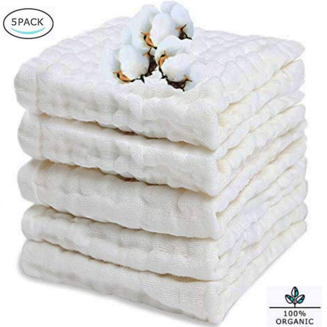 """BELIZ - 100% Organic Cotton Cloth Diapers Muslin Baby Burp Cloths 10"""" to 20"""" Large 5 in a Pack 9 Layers Extra Absorbent and Soft Unisex Baby Washcloths (White)"""