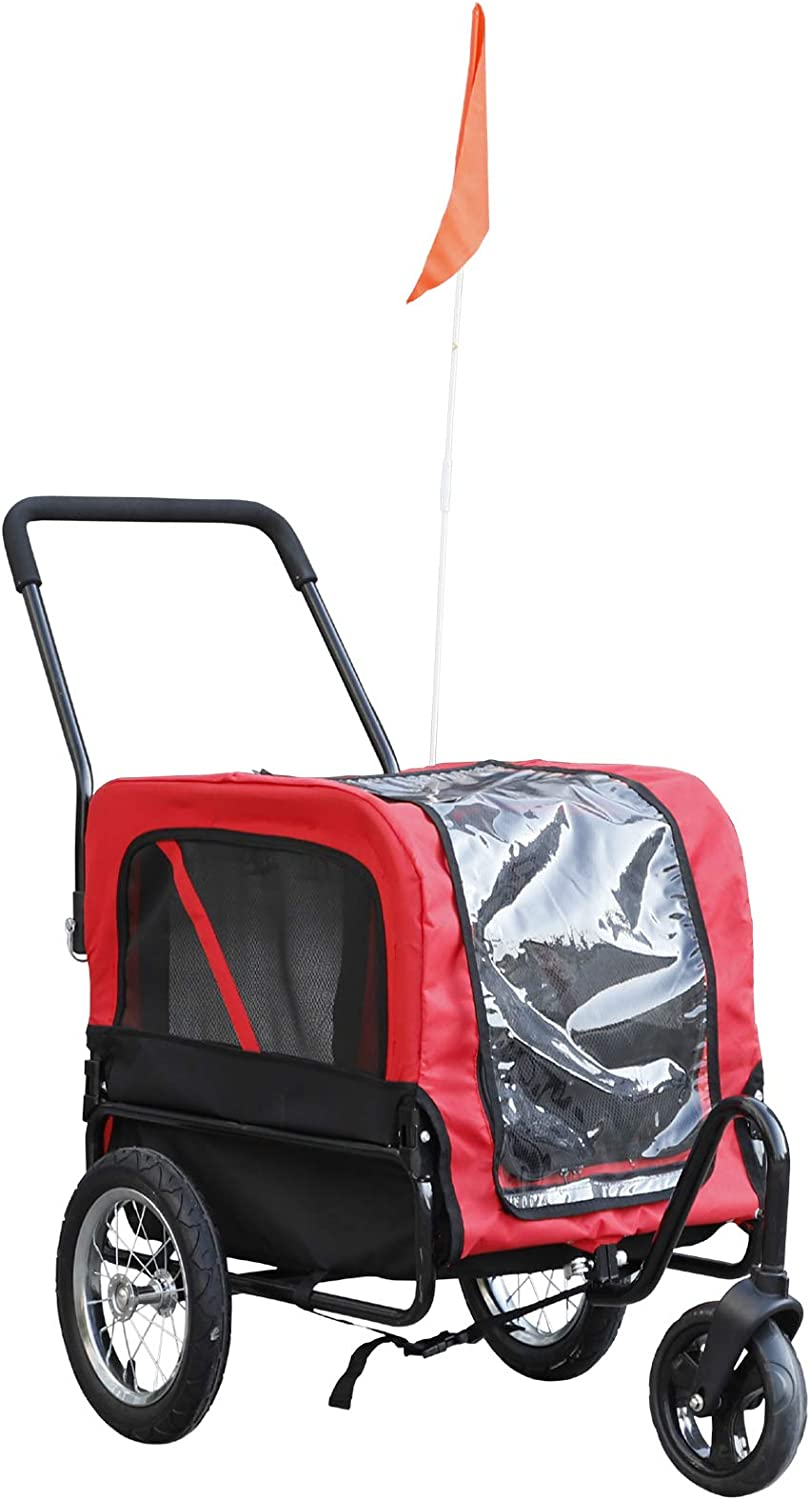 Aosom Pet Bike Trailer/Walking Stroller with Weather-Resistant Oxford Fabric & Zippered Front & Back Door