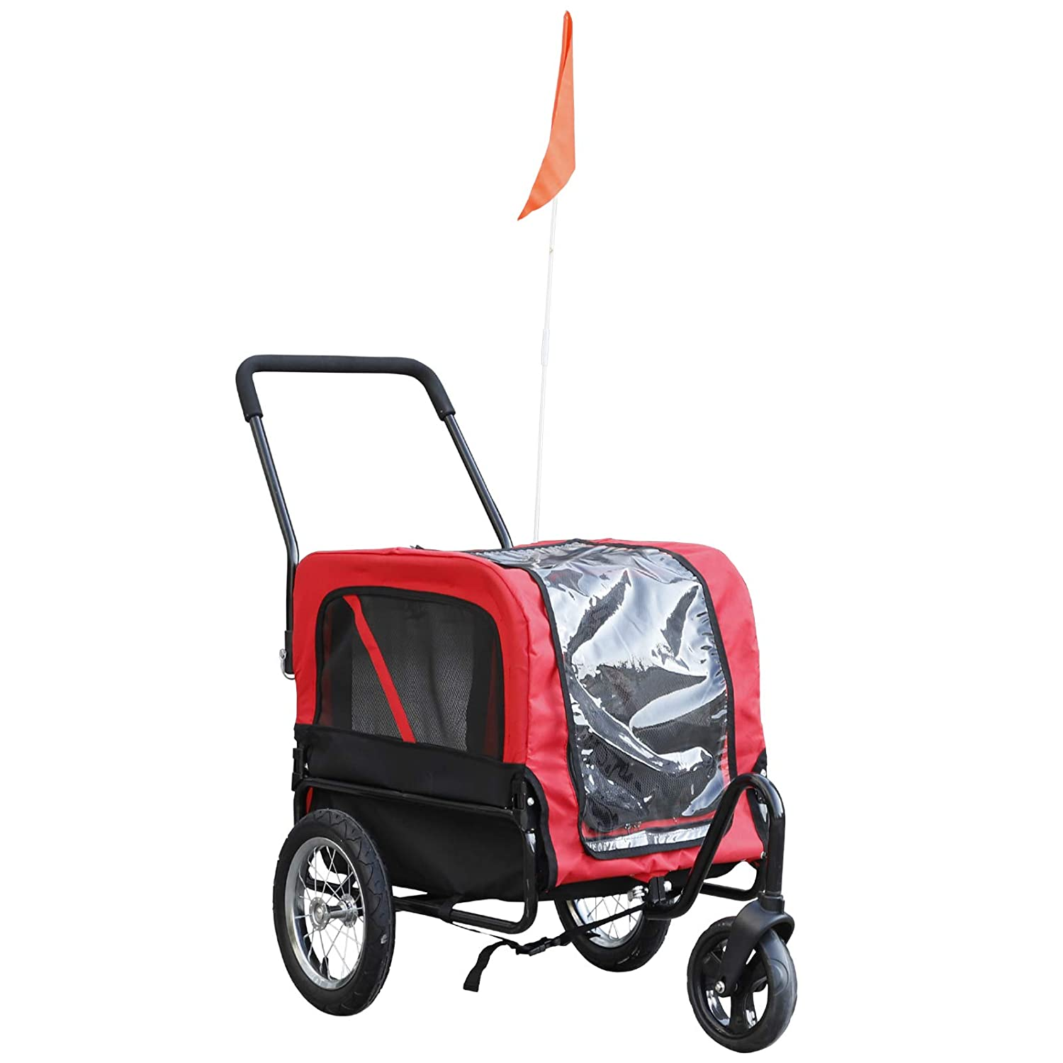 Aosom Elite-Jr 2-In-1 Dog Pet Bicycle Trailer Stroller With Swivel Wheel – Red Black