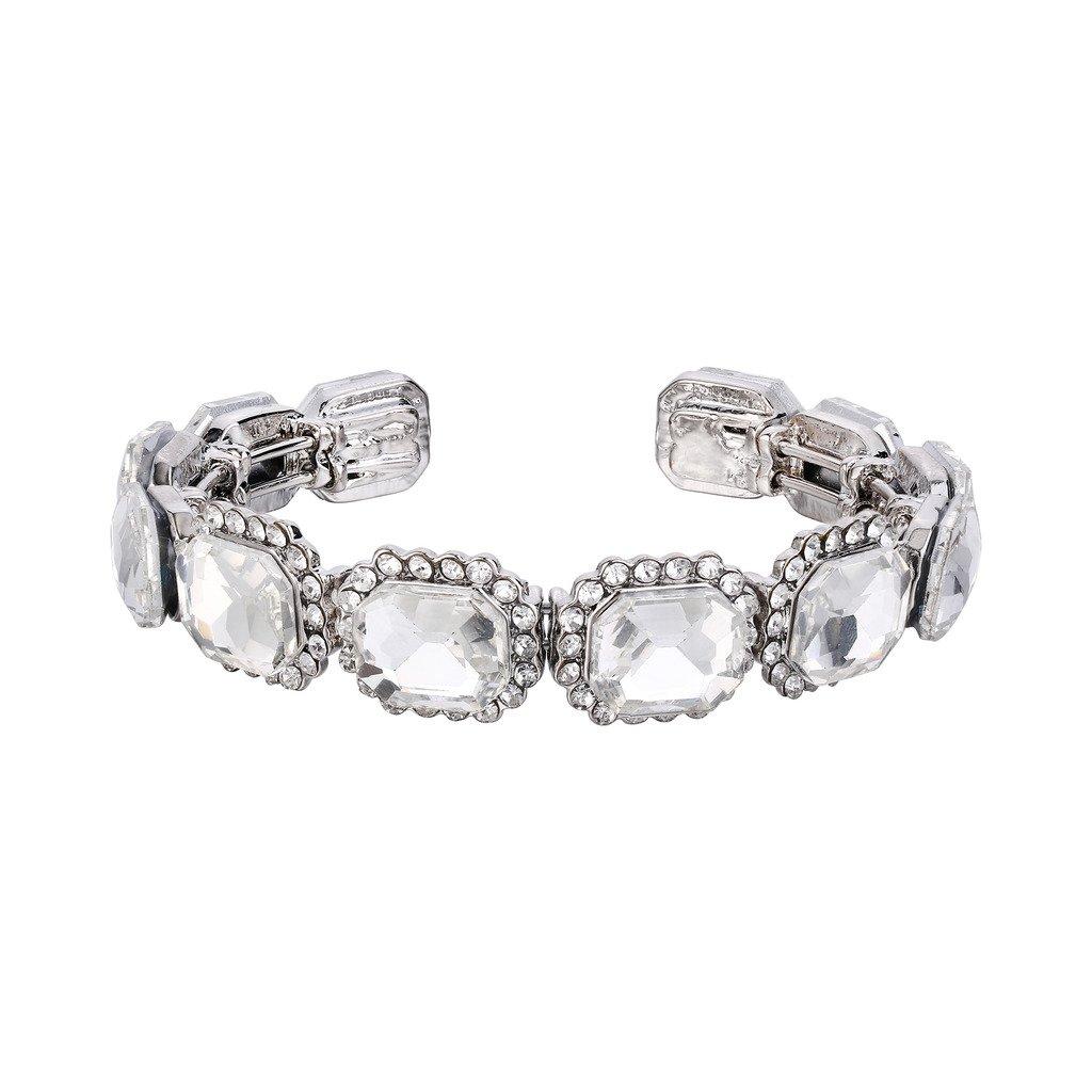 BriLove Women's Wedding Bridal Bangle Bracelet Multi Emerald Cut Crystal Open Stretch Bracelet Clear Silver-Tone