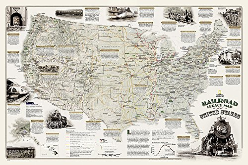 National Geographic: Railroad Legacy Map of the United States in gift box Wall Map (36 x 24 inches) (National Geographic Reference Map)