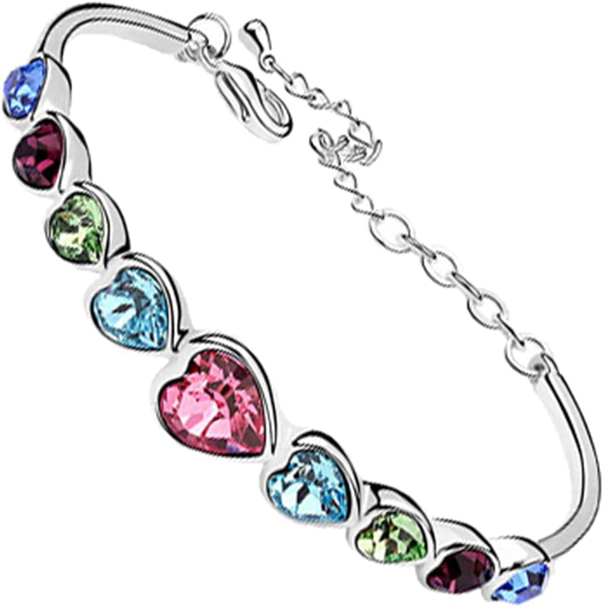 GWG Jewellery Pulseras Mujer Regalo Pulsera Brazalete, Chapada en Plata de Ley Cadena Rígida de Corazones en Cristales Colorados de Diseño Amor para Mujeres