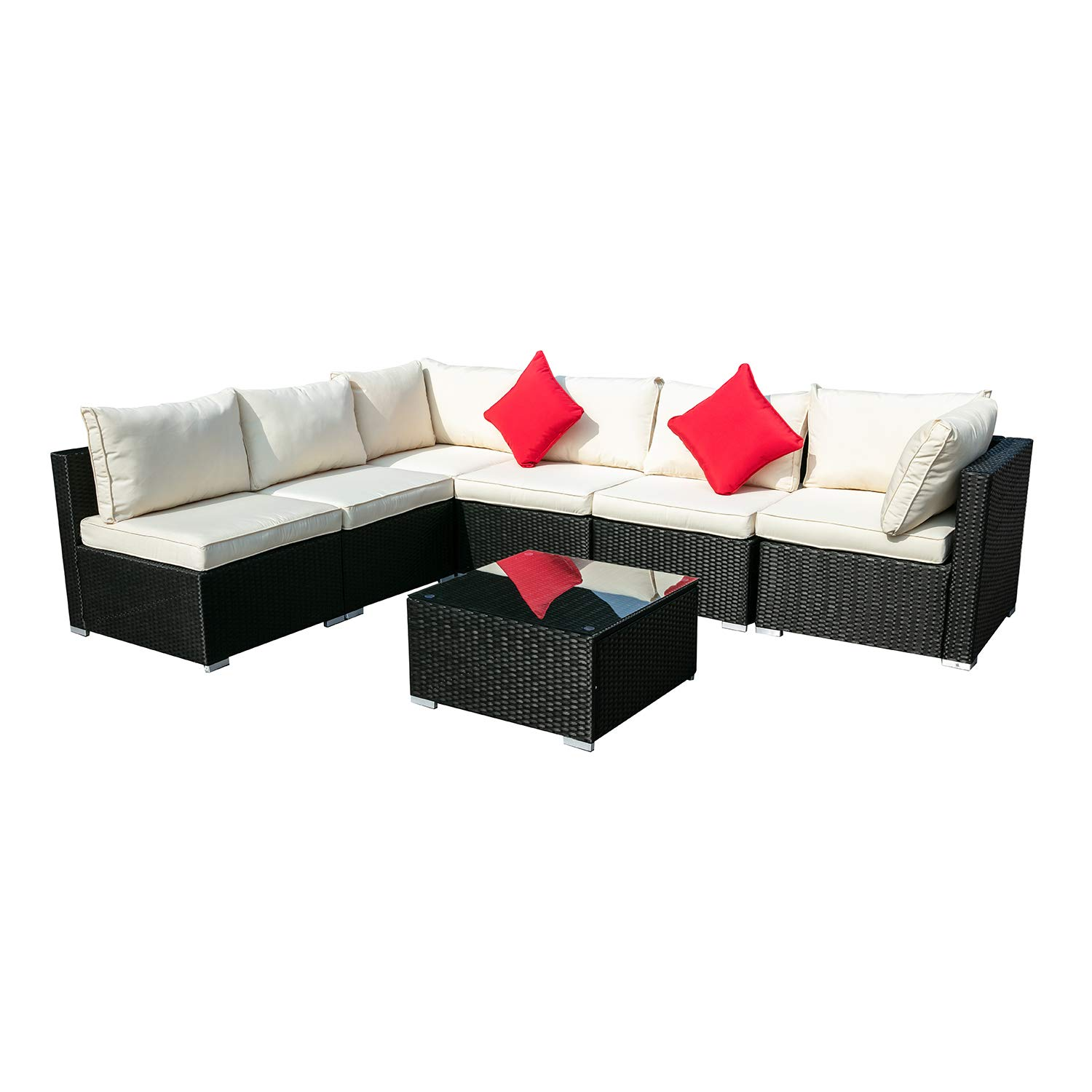 KOOLWOOM Outdoor Patio Furniture Set,Sectional Wicker Sofa Washable Waterproof PE Cushions,Backyard,Pool 7, White