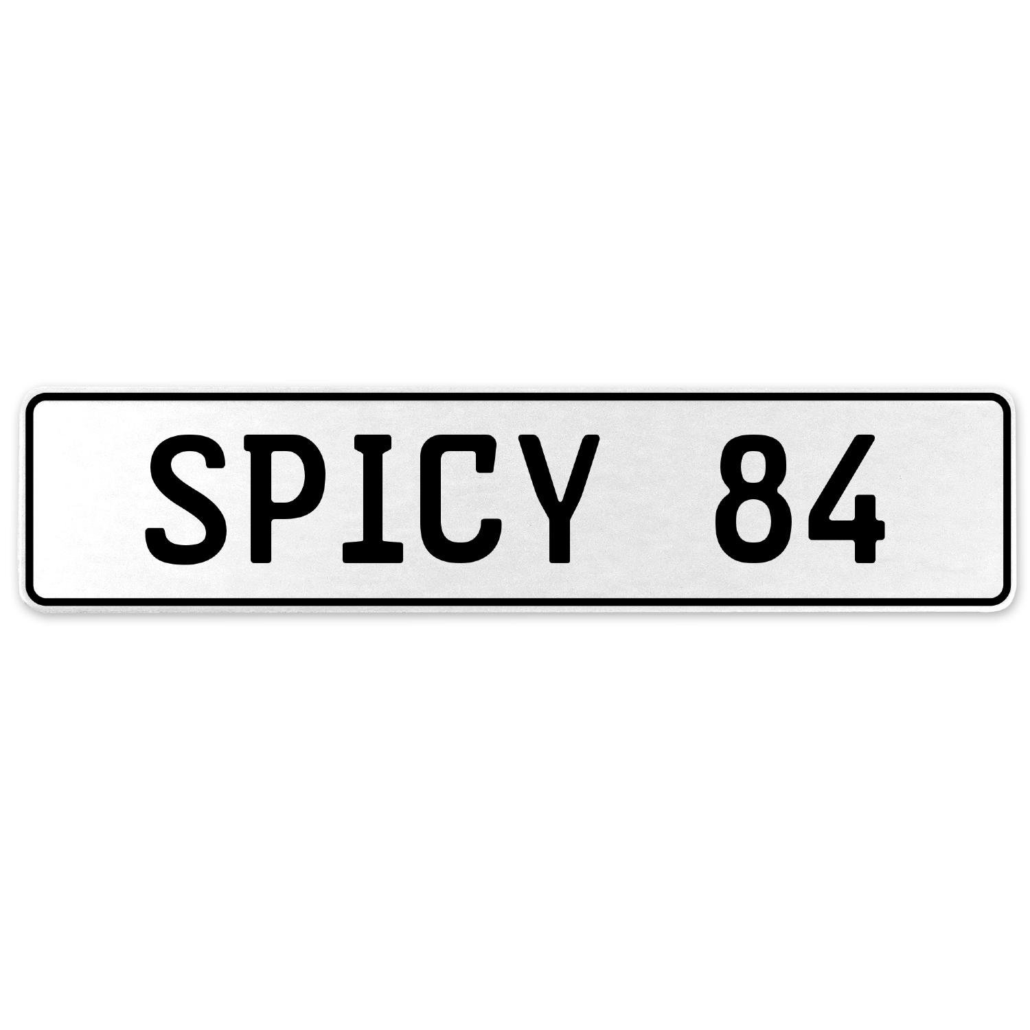 Vintage Parts 556562 Spicy 84 White Stamped Aluminum European License Plate