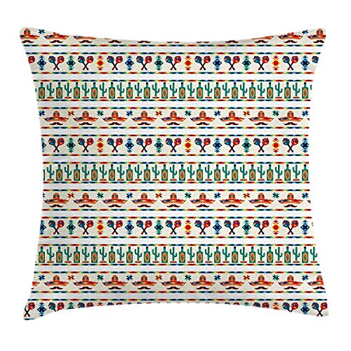 - DREAM-S Mexican Throw Pillow Cushion Cover, Latin American Cultural Native Borders Indigenous Saguaro Sombrero Tequila Bottle, Decorative Square Accent Pillow Case, 18 X 18 Inches, Multicolor
