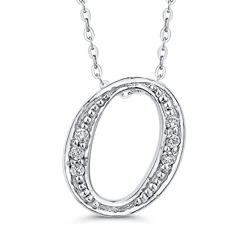 "f15875b3b Image Unavailable. Image not available for. Color: Diamond  Initial""O"" Necklace in 14K White Gold (1/20 cttw)"