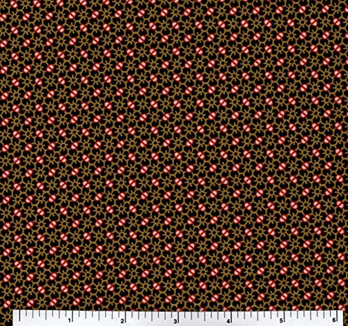 Latimer Farms Black Red Gold Fabric by The Yard ()