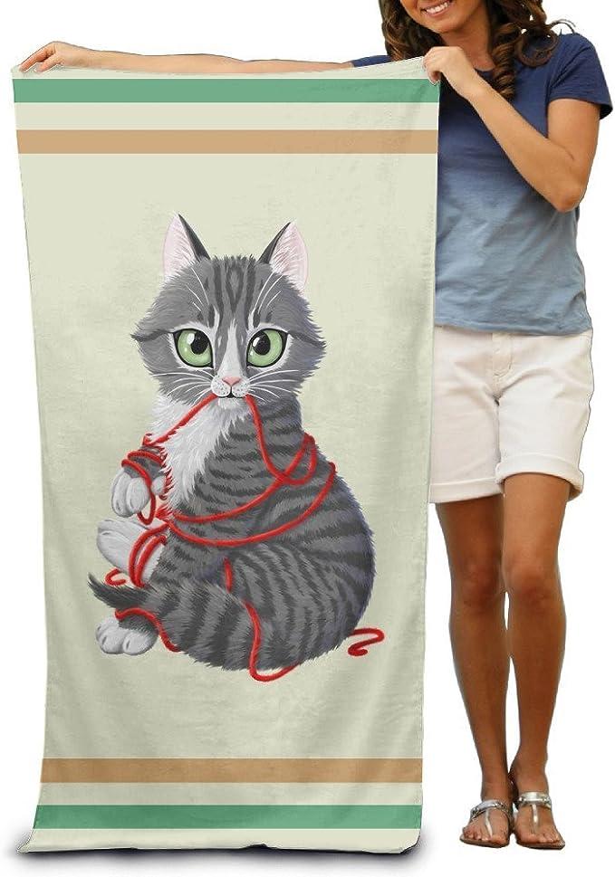 Toallas de baño para gatos con bola de hilo, toallas de playa para adultos suave absorbente de 78,74 x 132,88 cm: Amazon.es: Hogar