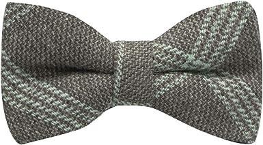 Slate Grey /& Blue Birdseye Check Bow Tie