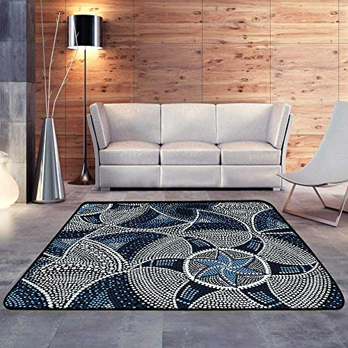 (Low-Profile Mats,Mosaic Round Blue Tiles with starsW 35