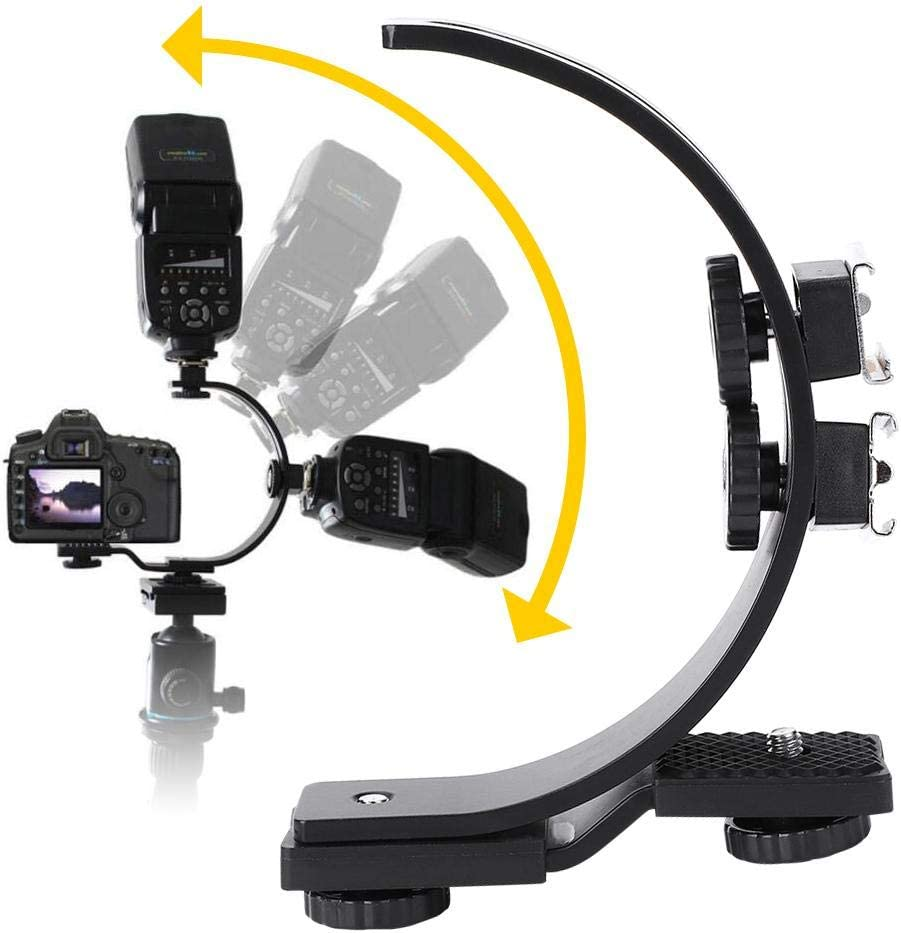 Pomya C-Shape Flash Bracket Adjustable C-Shape Dual Hot Shoes Flash Lamp Mount Holder Bracket for DV Camera Camcorder DSLR Camera