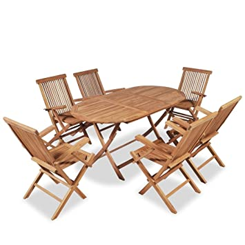 Premium Garten Essgruppe Teak Holz Set 7 Teilig Braun